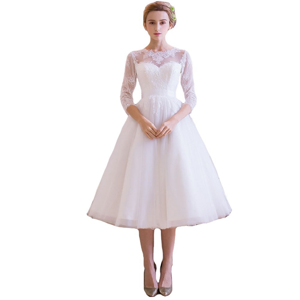 Primary image for Lemai Tulle Lace Tea Length Informal Beach Short Bridal Reception Wedding Dre...