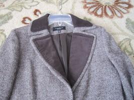 Women's sz 6 Talbots Brown Tweed Blazer velveteen Collar Jacket Wool Ble... - $15.79