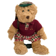 "Russ Berrie Chip Golfing Teddy Bear Plush 8"" Vintage Stuffed Animal Polo... - $21.73"