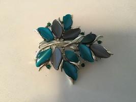 Teal & Grey Lucite Thermoset Emerald Green Rhinestones Silvertone Leaf B... - $14.80