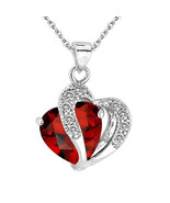 Heart Crystal Rhinestone Silver Chain Pendant Jewelry - Fashion Necklace... - $13.25