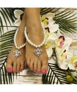 Barefoot Sandals, pearls, beaded, wedding, foot jewelry, handmade, footless - $14.99