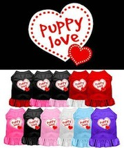 PUPPY LOVE Dog Dress * 11 Colors * Sleeveless w/ Ruffled Skirt * Valenti... - €13,17 EUR+