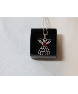 Ladies Womens Avon Mary Birthstone Angel Necklace July red color F345253... - $29.69