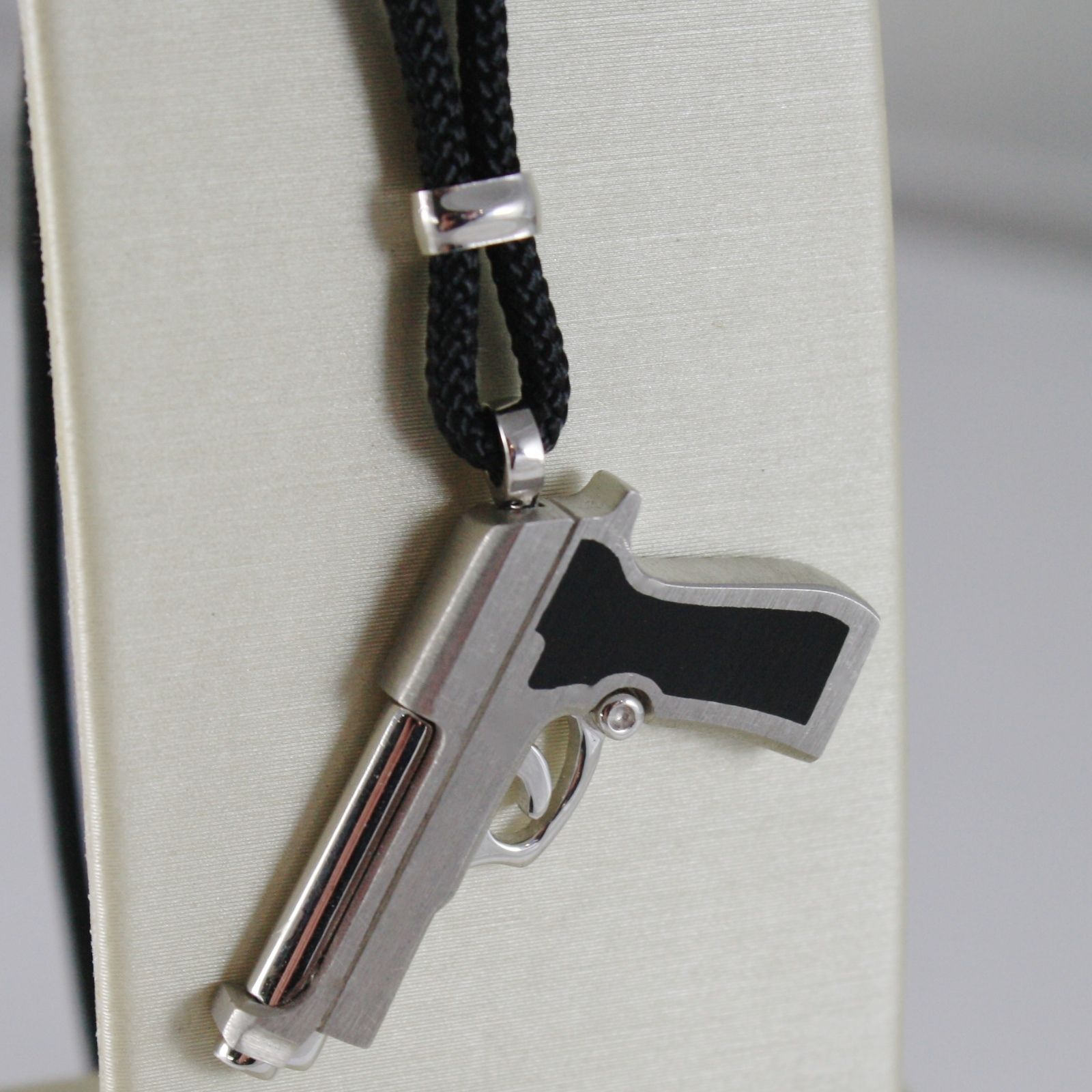 925 SILVER NECKLACE GUN PENDANT FINELY WORKED, SATIN, BY ZANCAN MADE IN ITALY
