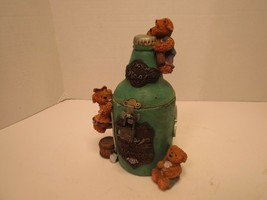 BTC Ceramic Bear Beer Bottle Piggy Bank With Small Lock Beer 18 Years Old - $21.50