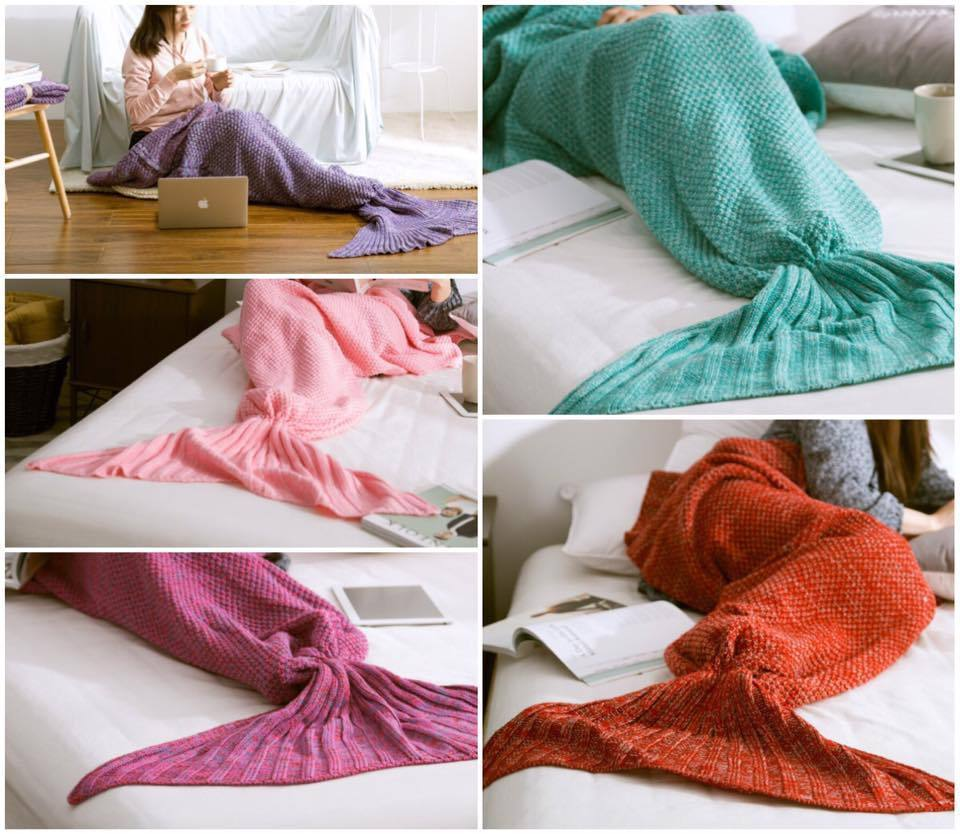 Cute Mermaid Tail Blanket Blankets Kids Bedding Knit Costume Wrap Girl Cosplay