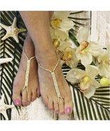 Barefoot Sandals, GOLD, foot jewelry, rhinestones,  wedding, bride, wedding - $21.99
