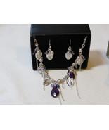Ladies Womens Avon Beaded Vine Necklace & Earrings Gift Set Violt F35999... - $29.69