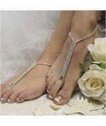 Barefoot Sandals, SILVER, foot jewelry, rhinestones,  wedding, bride, we... - $21.99