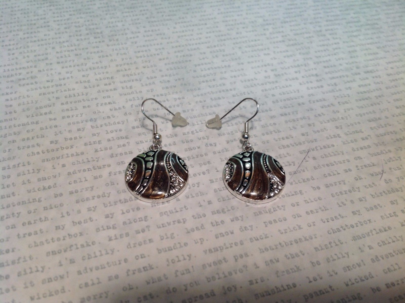 Silver Tone Round Crystal w Brown Enamel Dangle Earrings