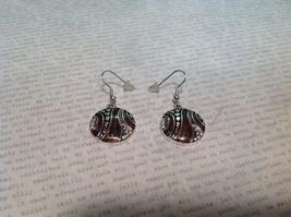 Silver Tone Round Crystal w Brown Enamel Dangle Earrings image 1
