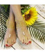 Barefoot Sandals, GOLD, bohemian, boho, rhinestones,  wedding, bride, we... - $21.99
