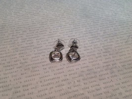 NEW Silver Tone Dangle Stud Earrings w Large Square Crystal and Filigree