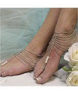 Barefoot Sandals, SILVER, bohemian, boho, rhinestones,  wedding, bride, ... - $21.99
