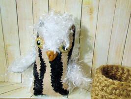 BABY OWL Folk Art doll handmade ooak in nest soft fabric plush crochet b... - $10.30