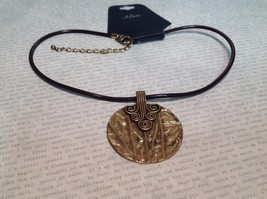 NEW Brass Tone Medallionesque Necklace on Cord w Adjustable Lobster Clasp image 1