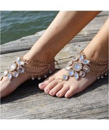 Barefoot Sandals, GOLD, foot jewelry, footless sandals, wedding, gypsy, ... - $59.99