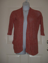 Anthropologie Sparrow Orange Knit Cardigan Sweater Size LARGE L - $32.47