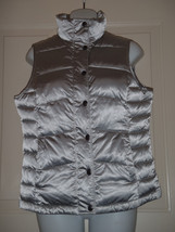 Lands End womens silver gray metallic snap front puffer vest XS 2-4 - $51.07