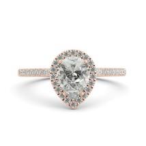1.60 ct Pear Charles Colvard Classic Moissanite & Diamond Engagement Ring 14k RG - $1,060.00