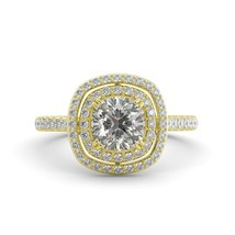 1.90 ct Cushion One Moissanite & Round Diamond Halo Engagement Ring 14k Y Gold - $1,504.00