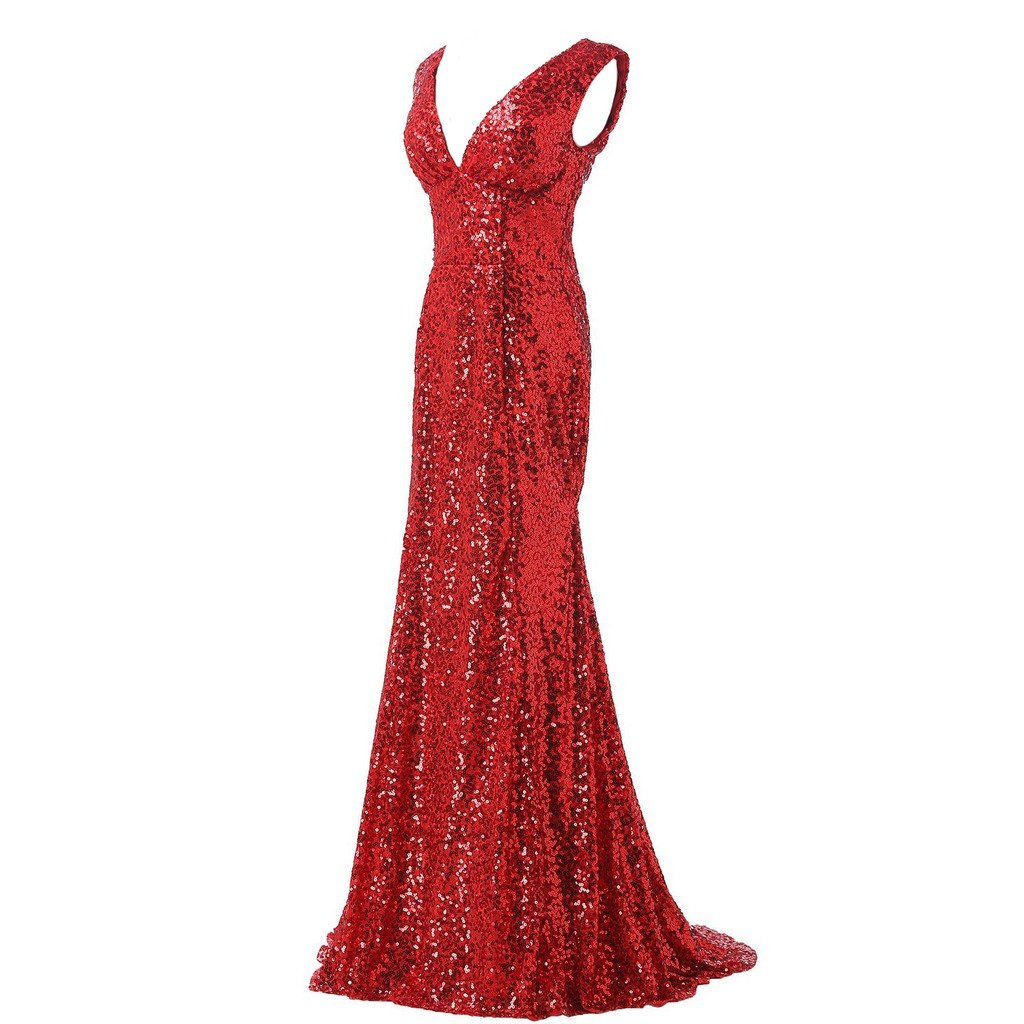 Lemai Women's Shiny Sequined Mermaid V Neck Formal Long Evening Prom Dresses ... - $119.99