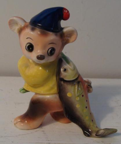 Vintage Japan Figurine Anthropomorphic Bear hauling Fish Three Leaf Clover Mark