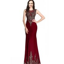 Mermaid Sexy Sheer Back Long Women Formal Prom Evening Dresses Gold Lace Crys... - $127.99