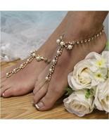 Barefoot Sandals, Parisian, GOLD, foot jewelry, rhinestones,wedding, pearls - $29.99