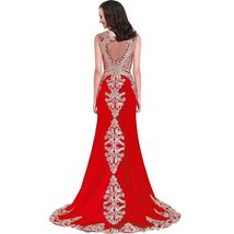 Lemai Women's Mermaid Lace Sheer Back Formal Long Prom Gowns Evening Dresses ... - $165.00