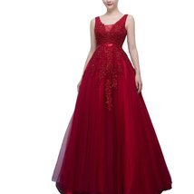 Lemai Tulle Backless Sheer Top Lace Appliques Long Beaded Prom Evening Dresse... - $159.99