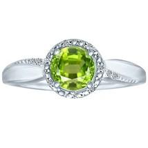 1.07 tcw Brilliant Round Cut Peridot & Natural Diamond Halo Ring .925 St... - £45.91 GBP