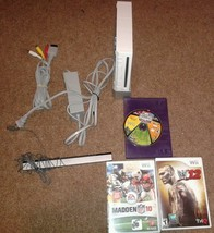 White Nintendo Wii Console Complete  Bundle 3 Games Madden, Wwe WORKS GREAT - $46.75
