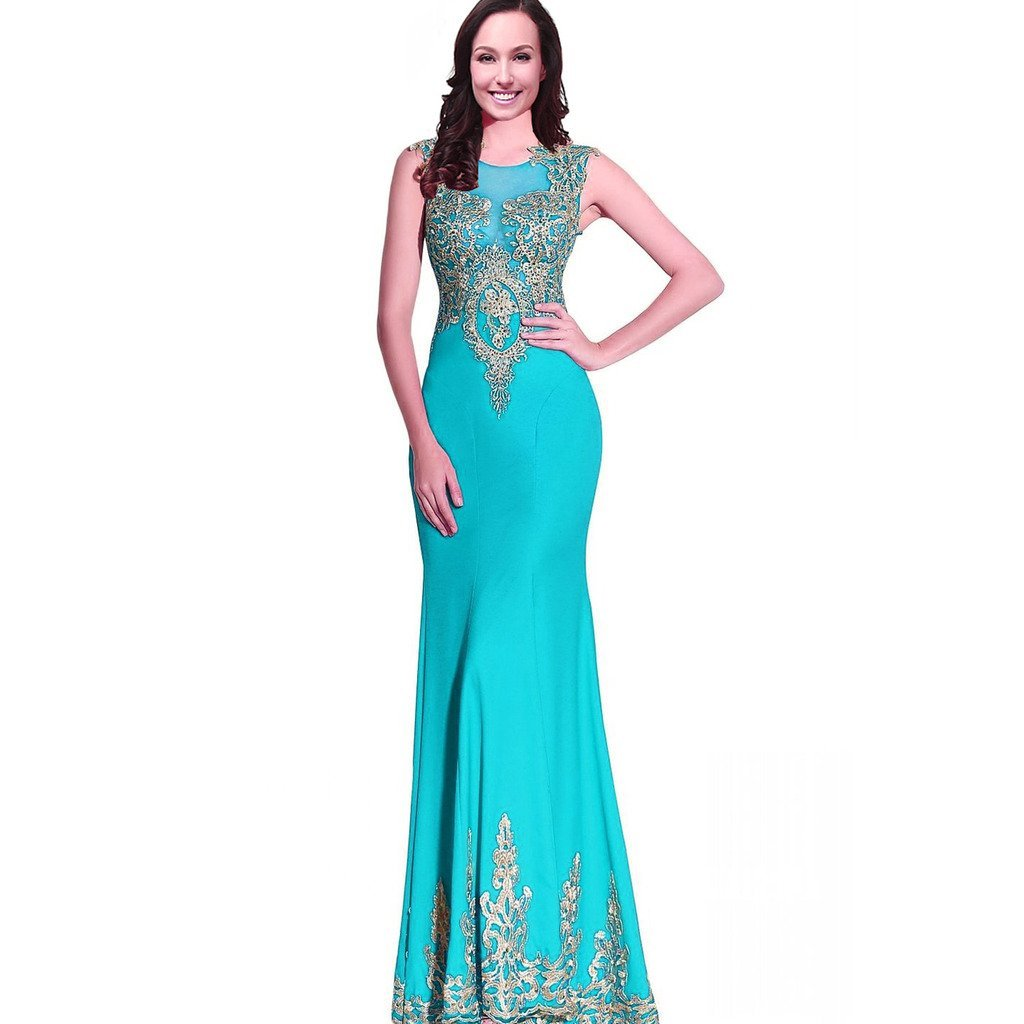 Mermaid Sexy Sheer Back Long Women Formal Prom Evening Dresses Gold Lace Crys...