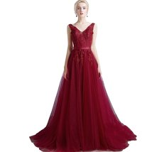 Lemai V Neck Tulle Backless Long Beaded Lace Formal Prom Evening Dresses Sash... - $159.99