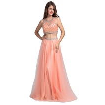 Lemai Women's Peach Pink Tulle Two Pieces Sheer Beaded Long Formal Prom Eveni... - $149.99