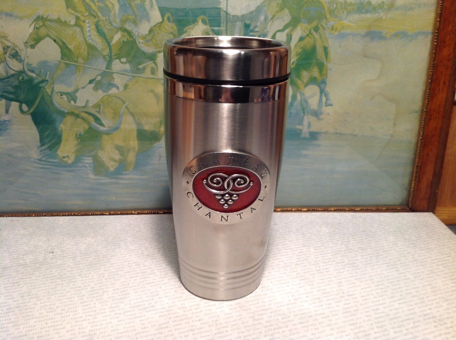 NIB Chateau Chantal Heritage Pewter Metal Insulated Coffee Thermos Container