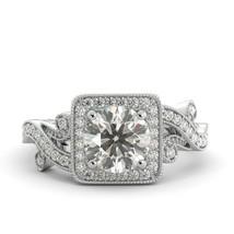 2.02 ct Round One Moissanite & Diamond Vintage Engagement Ring 18k White Gold - $1,798.00