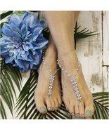 Barefoot Sandals,blue, pearls, crochet foot jewelry, handmade, footless ... - $9.99+