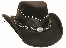 Bullhide Back In Black Leather Cowgirl Hat Rivets Conchos Chincord Black - £64.24 GBP