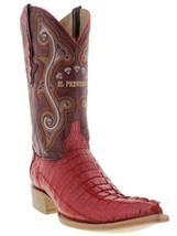 Mens Genuine Red Alligator Crocodile Leather Western Cowboy Boots 3x Toe - £172.85 GBP