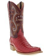 Mens Genuine Red Alligator Crocodile Leather Western Cowboy Boots 3x Toe - $300.55 CAD