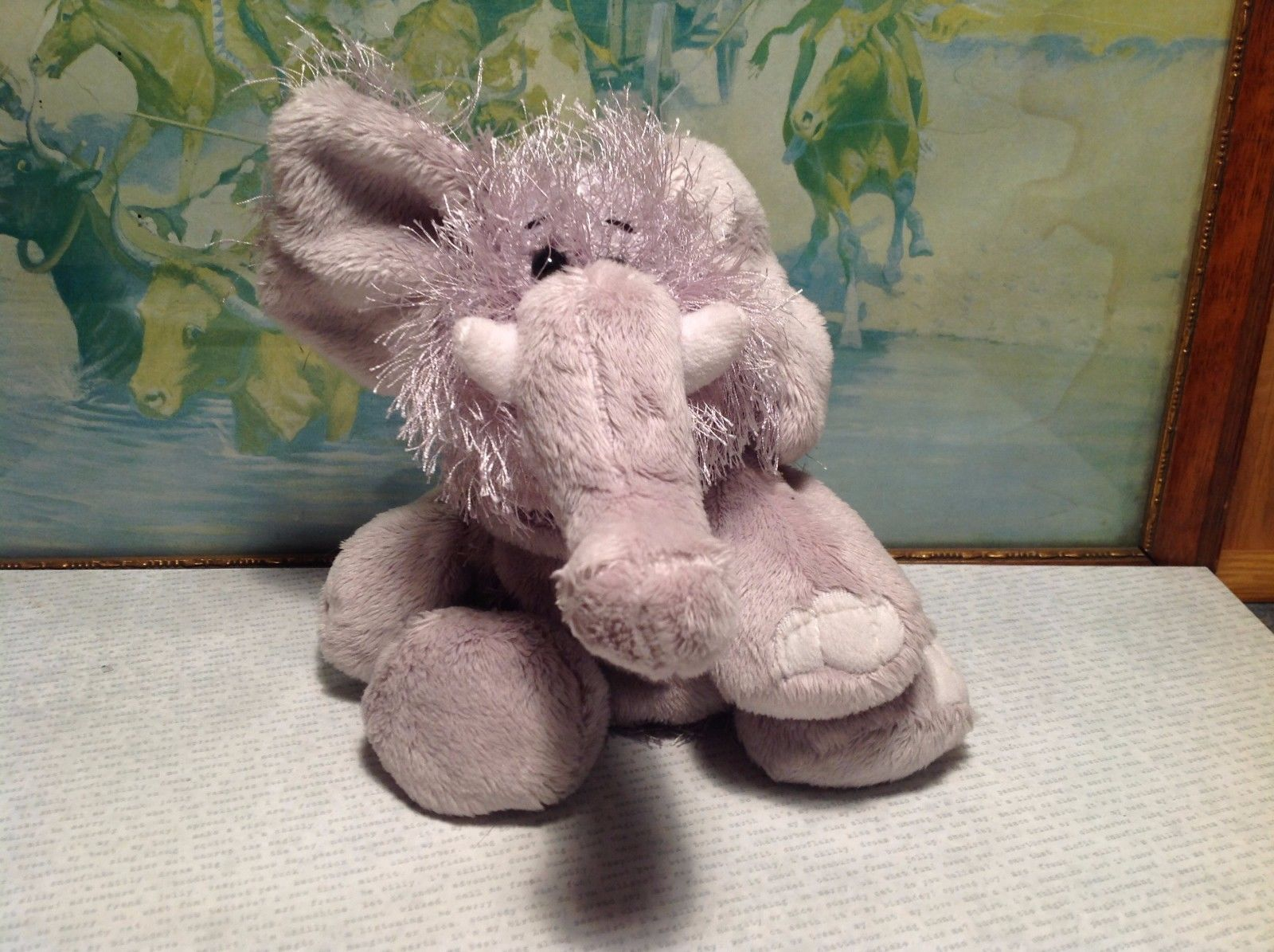 NEW Gray Plush Fluffy Stuffed Elephant