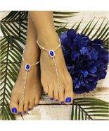 Barefoot Sandals, Royal Blue, pearls, beaded, wedding, bridal, handmade,... - $21.99