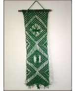 GREEN MACRAME Wall Decoration Hanging NEW Woven Cord Handmade Hippie Rustic - $29.00