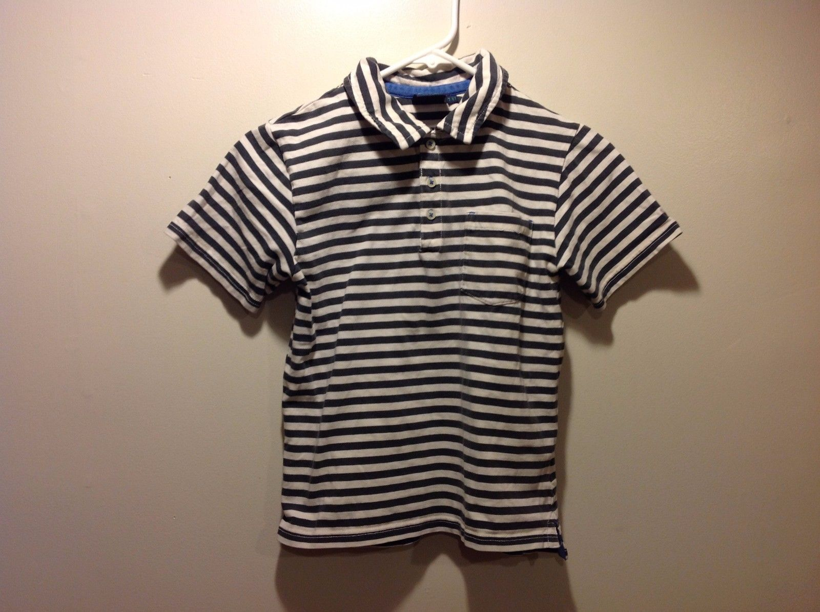 Mini Boden Blue Gray Horizontally Striped Polo Tee