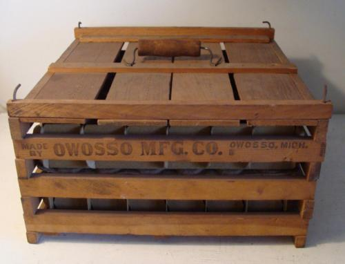 Antique Primitive Wood Chicken Egg Crate Owosso MFG Michigan 6 dz Humpty Dumpty