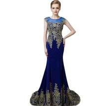 Lemai Royal Blue Mermaid Gold Lace Hem Formal Sheer Pageant Long Prom Evening... - $109.99