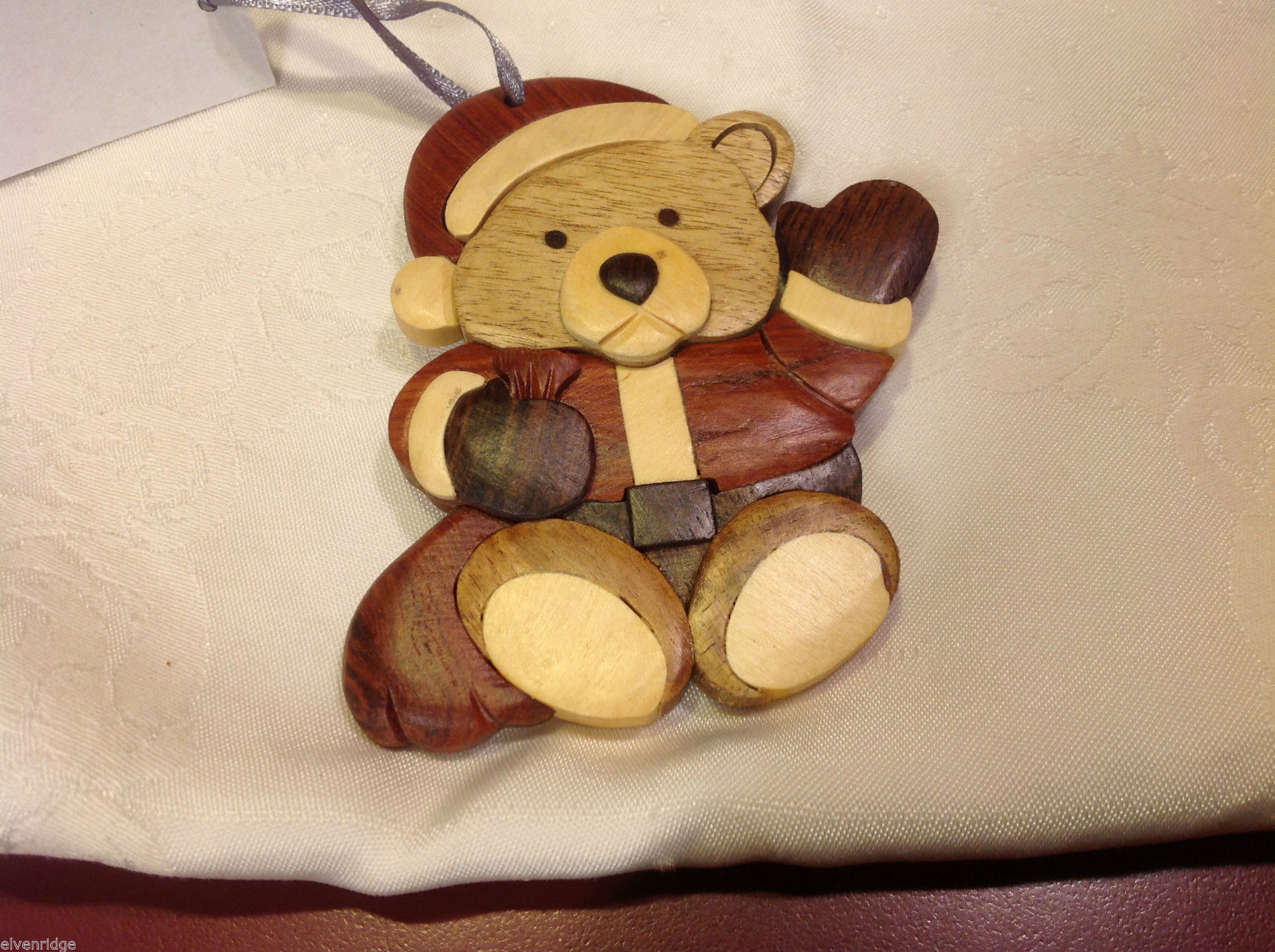 Hand carved multi colored grained wood Santa Bear  ornament double sided